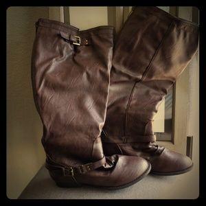 Dark Brown Wide-Calf Boots